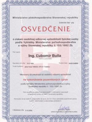 Ľubomír Bulla - Osvedčenie PPÚ 2002